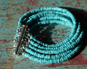 Turquoise and Silver Layered Bracelet, Heishi Turquoise