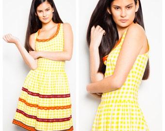 SUPER S.A.L.E was 350 now 225 beautiful vintage 60s GOTTEX yellow gingham full skirt crochet ribbon trim dress
