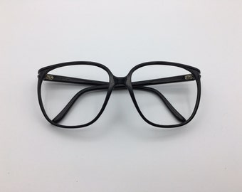 Bolle irex 100 oversized nerdy black eyeglasses frames vintage 1980's made in France