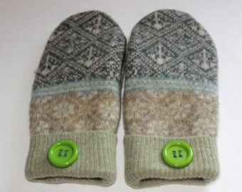 Wool Felted Mittens - Upcycled Wool Mittens  - Sweater Mittens - Green/Brown/Grey Mittens -   Womens/Teens -  Size Medium