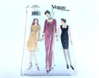 Vogue Evening Dress Pattern, Vogue 9365, Empire Waist Evening Dress in Two Lengths, Size 12 14 16, Uncut