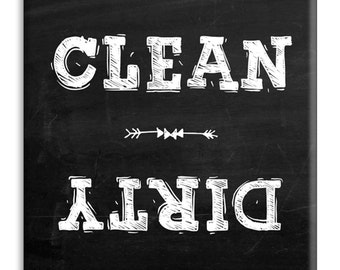 Guajolote Prints Clean Dirty Dishwasher Magnet (Chalkboard)