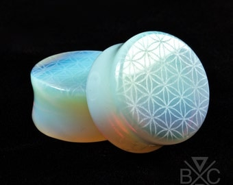"2g - 1"" Flower of life Engraved Opalite Plugs"