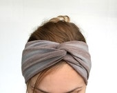 Taupe gray twist headband Jersey turban turband stretch head wrap striped casual everyday winter ear warmer mothers day stirnband