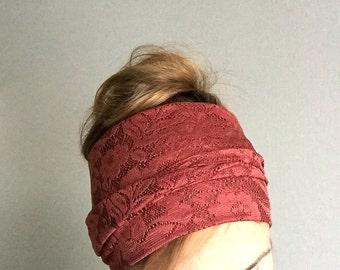 long head scarf lace self tie headwrap boho hair accessories knot head wrap hair headscarf burgundy red wine bordeaux headbands for women