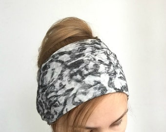 Black & white fabric wrap large headband wide headband stretch jersey hair loss hair covering everyday headwrap warm headband for women