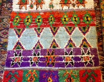 Old Vintage Moroccan Boucherouite Rug