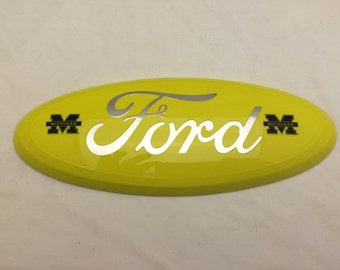 "2004-2014 Ford f-150 oval emblem,""Yellow & Chrome logo,U of Michigan"" logo, grille or tailgate emblem,9 inch"