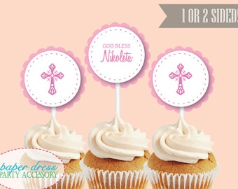 Set of 6 Personalized Pink Religious Baptism Christening Confirmation Cupcake Topper Dessert Topper