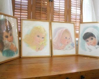 Northern Tissue Girls Prints, Set of 4 Babys Room Prints, American Beauty Girls Prints, Vintage Nursery Decor, Original Frames