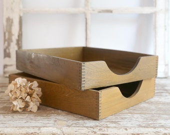 Vintage Wooden File Tray, Office Desk Tray, In Box Out Box, Dovetailed Desk Tray, Mid Century Desk Accessory, Wood File Box