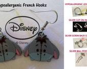 Donkey Tsum Eeyore Earrings -CHOICE- Handmade Steel Hypoallergenic Leverback French Hook Post Pierced OR Clip On