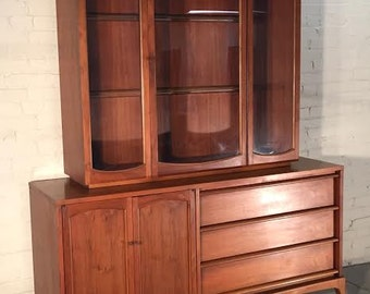 Lane Rhythm Mid-Century Modern Walnut China Cabinet / Hutch / Buffet / Bookcase - Mad Men / Eames Era Decor *SHIPPING NOT INCLUDED*