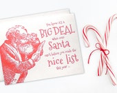 Letterpress christmas card , Santa's nice list , funny letterpress holiday card , naughty and nice , funny christmas card ,red
