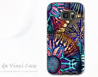 Samsung Galaxy S7 EDGE Case - Colorful dual layer Galaxy S 7 EDGE Case with Abstract Coral Art - Cosmic Star Coral - Premium Dual Layer Case