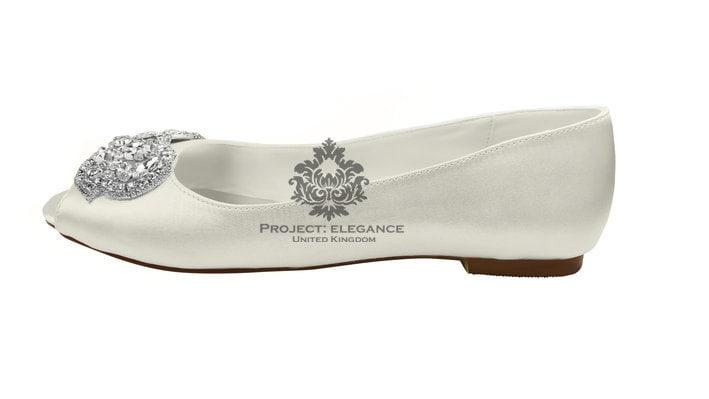 Ivory Wedding Shoes Ballerinas Open Peep Toed Flat
