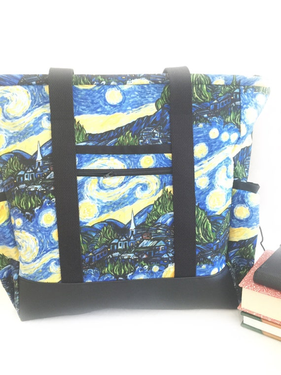 Leather Bottom Large Tote Bag with Pockets, Kitchen Sink, Professional Tote, Travel Tote, Teacher Bag, Van Gogh Starry Night Teacher Tote