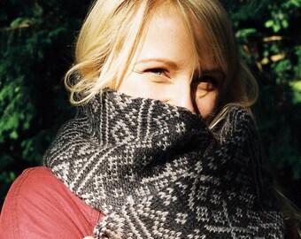 Hand knitted Fair Isle scarf
