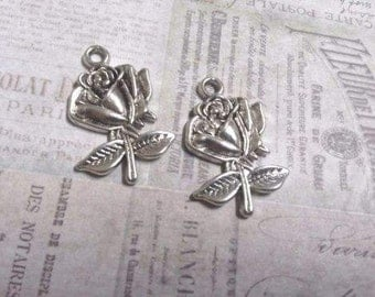 Flower Charms Pendants Antiqued Silver Rose Charms BULK Wholesale Charms 500 pieces PREORDER