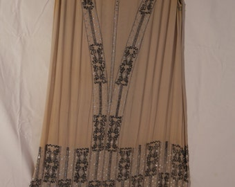 Chic vintage flapper chiffon sequined dress