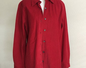 Red Corduroy Button Up