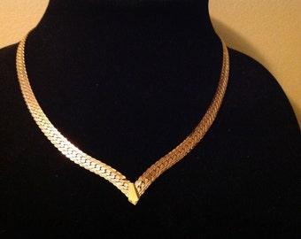 Vintage Napier Herringbone V Necklace Gold Tone