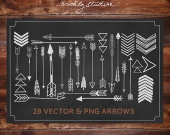 Arrow Digital Clipart, arrows, tribal clip art, hand drawn, boho, vector, png, svg, silouhette, diy, instant download