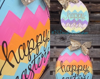 Easter egg door hanger with happy easter hand lettering custom
