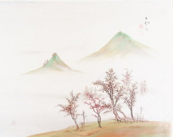 ON SALE Vintage Signed Asian Oriental Japanese Mt. Fuji Japan Painting on Silk Landscape