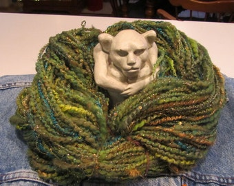 SPRING FOREST, priced per 10 yards, handspun, sequins, art yarn, thick/thin yarn, 2-ply, super bulky, angelina fiber, sari silk, homespun