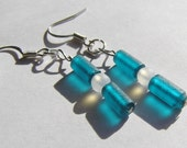 Minimalist Teal and Frosted White Recycle Glass Dangle Earrings