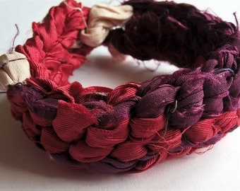 OOAK Reversible Sari Silk Crocheted Bracelet: Brick Red, Plum Purple, Creamy White