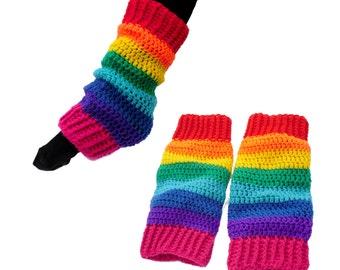 Rainbow Leg Warmers Multicolor Funky Cosy Chunky Crochet Legwarmers Kawaii Stripey Vegan Boot Socks Kitsch Rainbow Striped Girls Legwarmers
