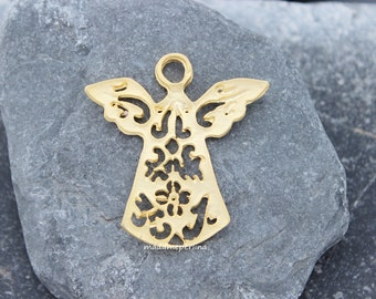 angel pendant fretwork 40mm filigree charm matte gold plated turkish supplies mdla169