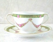Royal Cauldon Bone China Cream Soup Cup & Saucer Brown Westhead Moore Cabbagr Pink  Roses and Gold Inlay Hand Painted Numbered 7224