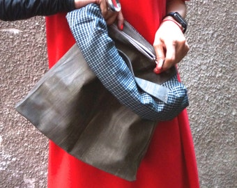 New LIMITED EDITION Genuine Leather Olive Green Hand Bag / High Quality  Rubber Covered  Bag with inside pockets by AKASHA A14255
