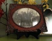 Vintage Halloween Original Photograph Framed in Ornate Wooden Frame Convex Glass  Antique Bizarre Pumpkin Heads Creepy Weird Halloween Decor