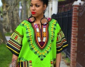 Unisex Dashiki Lime GrEen African Tunic Dress - Kings and Queens