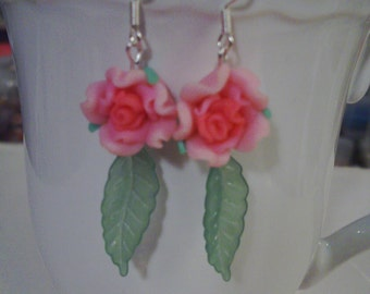 Pink Rose Earrings - Free Shipping