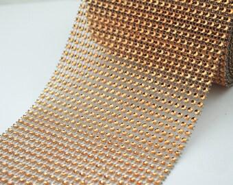 "4.75"" 24 orange Diamond Mesh Wrap Roll Sparkle Rhinestone Crystal Ribbon"