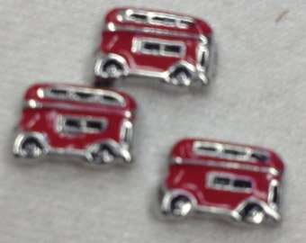 Red Double Decker Bus Floating Charm. Free Shipping!
