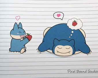 Chibi Munchlax/Snorlax Stickers and Magnets