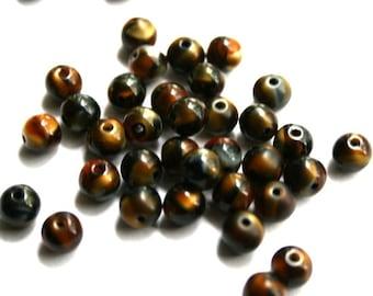 6 mm Dark Brown Striped Tiger Round Beads