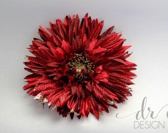 Red Flower Hair Clip - Flower Hair Clip - Red Fabric Flower Hair Clip - Wedding Hair Clip - Red Wedding Hair Clip - Fabric Hair Clip