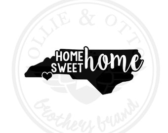 North Carolina NC Home Sweet Home Vinyl State Decal - customizable