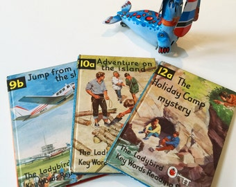 REDUCED Set of 3 Vintage Childrens Ladybird Books - Adventure on the Island, Holiday Camp Mystery & Jump from the Sky