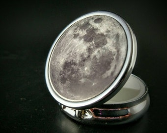 Moon - Supernatural - Lunar Moon - Occult Accessory - Hand Painted Pillbox - Compact Mirror