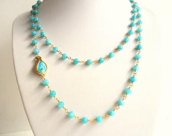Aqua blue necklace, Turquoise necklace,  Fish Necklace, wire wrapped necklace, sky blue necklace, gold necklace, summer trends 2016