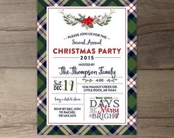 Christmas Party Invitations • Flannel Theme • Plaid • Lodge • Antlers • Skis • Trees • Custom Holiday Invites • printable