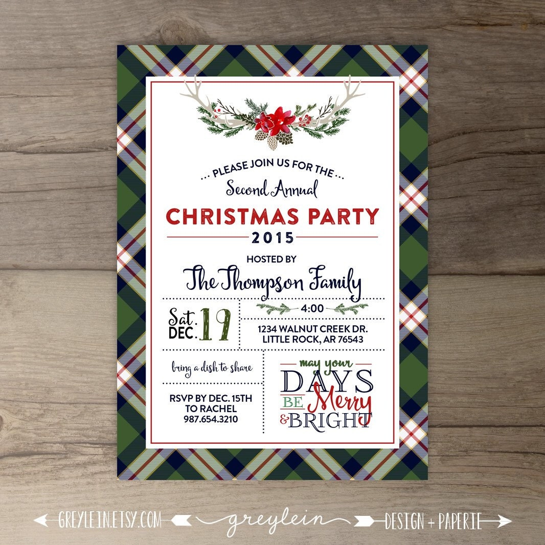 Christmas Party Invitations Flannel Theme Plaid Lodge